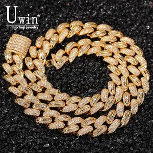 UWIN 15.5 мм Кубинская ссылка CZ Baguette Prong Miami Ожерелья замороженные Zircon Pave Роскошные Bling Bling Ювелирные Изделия Мода Хипхоп для мужчин