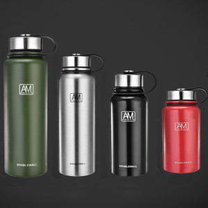 Portable Stainless Steel Water Bottles Double Vacuum Insulated Mug Cup Outdoor Hiking Climbing Kettle Water Bottle Travel Cups WX9-235