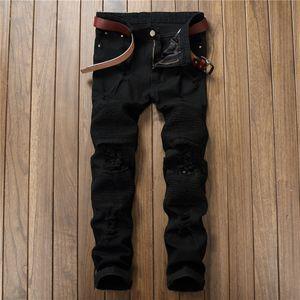 Fashion Mens Ripped Biker Jeans Leather Patchwork Slim Fit Black Moto Denim Joggers For Male Distressed Jeans Pants JS36