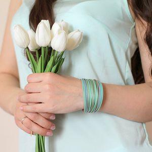 Mint Leather Bracelets for Women 2020 Fashion Ladies Slim Strips Multilayer Wide Wrap Bracelet Female Jewelry Gift