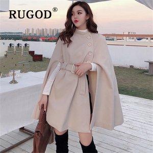 RUGOD Корейский Новый Стиль Solid Color Сыпучие Cape Coat Collect Талия Шерстяной Средние Длинные пальто зимы женщин Топы для женщин 200930
