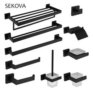 SEKOVA Black 304 Stainless Steel Towel Rack Toilet Brush Paper Holder Soap dispenser Towel Bar hook Bathroom Hardware Set LJ201211