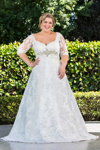 Plus Size A Line Lace Wedding Dresses With Half Sleeves 2019 New Arrival Sheer Long Princess Bridal Gowns W1355 Winter Crystal Appliques Hot