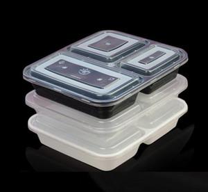 Mikrodalga Eko -Dostu Gıda Kapları 3 Bölme Tek Öğle Bento Box Siyah Meal Hazırlık 1000ml Ücretsiz Kargo