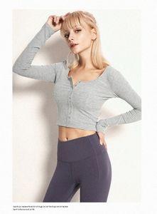 LU Women Yoga sweatshirts High Waist Sports Gym Wear Color Breathable Stretch Tight sleeve Skinny shirts Women Athletic Joggers vfu 035Q#
