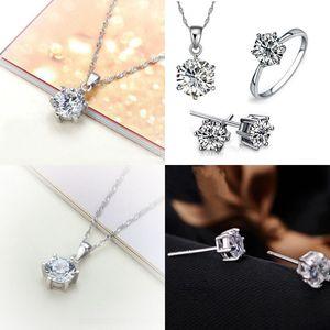 Set di gioielli da damigella d'onore per nozze oro come 925 catene in argento sterling Collana Collana Pendente orecchino per le donne Gemstone Anelli 33 J2