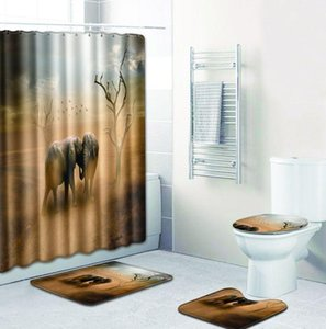 elephant printed Polyester Shower Curtain Bathroom Waterproof with 10 Hooks Pedestal Rug Lid Toilet Cover Bath Mat Set