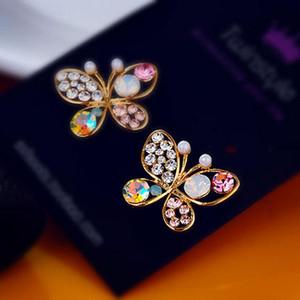 Crystal Simulé Perle Butterfly Stud creux Cubic Zirconia Strass pour Femmes Boucle d'oreille Bijoux Accessoire