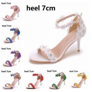 Elbise Ayakkabı Kristal Kadın Sandalet Yaz 5 cm 7 cm 9 cm Yüksek Topuklu Dantel Peep Toes Toka Askı Kadın Parti Beyaz Pompalar