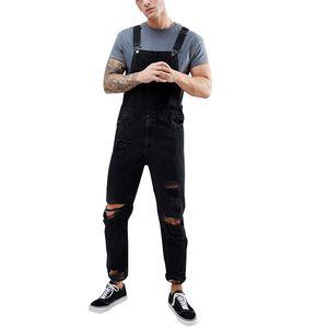 Moda Erkekler Düğme Sinek Kot Pockets Ile Mens Tasarımcı Tulum Yeni Yaz Erkek Delikler Denim Jeans
