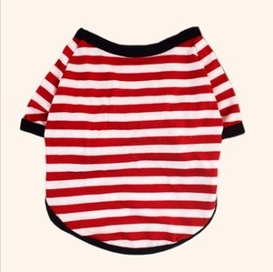 Pet Dog Clothes Dog Pullover Round Collar T-shirt Dogs Fashion Stripe Printed T-Shirt Puppy Clothes Pet Supplies Design 6 Colors SEA DDC5109