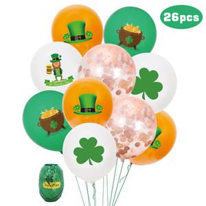 26pcs St. Patrick's Day clover theme party decoration Sequin Latex Balloon Set Festival balloon