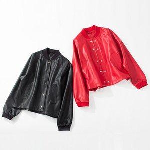 Couro feminino faux preto jaqueta vermelha motocicleta casacos zíper zíper solto oversize casaco outwear outono curto macio pu mulheres