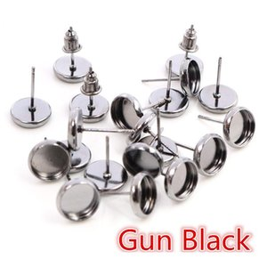 6 8 10 12 14 16 18 20mm 8 Colors Plated High Quality Stainless Iron Earring Studs(with Ear Plug) Base,fit 6-20mm Glass C bbyLuR