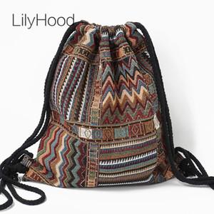 Bolsa de tela de Lilyhood mujeres, elegante bohemia Azteca tribu Ibiza Marron, Mochila con cordones