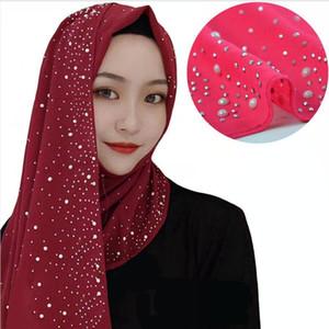 Moda Silk Chiffon Lenço Mulheres Plain Hijab Envoltório Headband Diamantes Corrente de Corrente de Pérolas De Gaze Muslim Hijab Lady xale DDA398