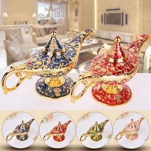 Dreamburgh Aladdin Lámpara Mágica Lata Retro Arte Europeo Artesanía Ing Light Exquisito Artesanía Adorno Muebles para el hogar Decoraciones T200703