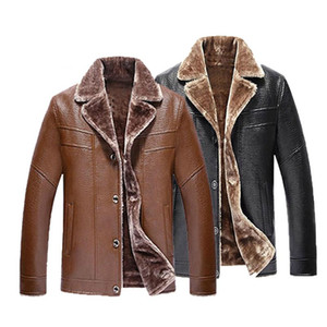 Winter New Wool Liner Leather Jacket Mens Large Size 5XL Slim Thick Leather Jacket Men Middle-aged Business Casual Coats