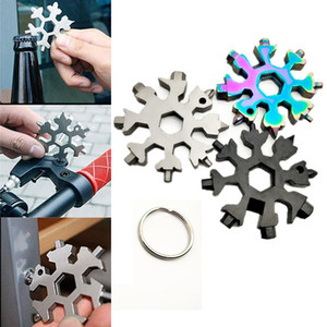 18 in 1 Snowflake Keyring Wrench Multifunction EDC Tool Portable Stainless Steel Keychain Screwdriver Bottle Openers hex wrench