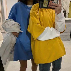 Female Lulu Short-sleeved Harajuku Blue Version Loose Medium To New Summer Korean T-shirt Long Fashion 2020 Pisgn