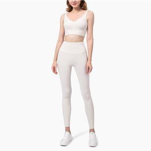 Profissional Yoga Set nua - se sente escovado Fitness Fitness Esportes Outfit Yoga Leggings Set Terno Mulheres Marfim Branco Yoga Roupas