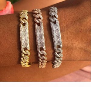 Women Hiphop Jewelry Iced out Bling Miami Cuban link chain cz bar bracelet bangle 17cm High quality