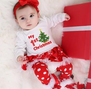 3 adet / takım Uzun Kollu Yenidoğan Bebek Kız Benim 1. Noel Kostüm Santa Elk Noel Kardan Adam Tutu Romper Fantezi Karikatür Elbise 0-24m