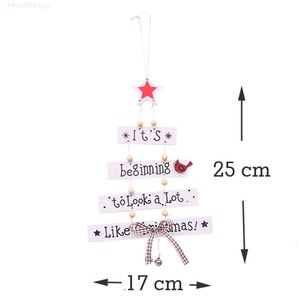 (1 piece) White Handwork Christmas Tree Decorations New Year Holiday Party Bow-knot Decoration Wooden Bell Y201020