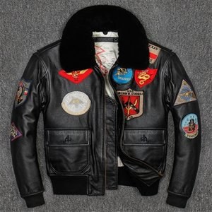 G1 Uomo Giacca pilota in pelle Pistola in pelle Plus Size Collare in lana Colletto in pelle bovina American Army Pelle Army Cappotto pilota 201114