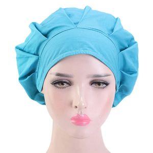 Fashion Cotton Bonnet Adjustable Nurse Bouffant Hat Head Cover Unisex Scrub Cap