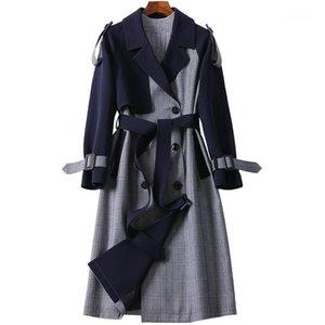 Dames Trench Coat 2020 Spring Automne Neuf classique à double boutonnage Courroie Plaid Long Women Womens Beintres occasionnels Business Outerwear1
