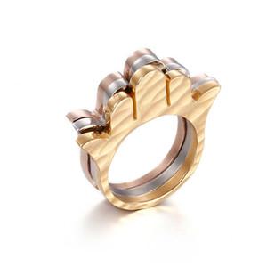 TKR11-16 l'Europa e la vendita europea ed americana calda 3pcs insieme lusso mano hamsa porta anello stile titanio anello in acciaio di cristallo