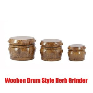 2021 HOT Drum Style Hard Herb Grinder For Tobacco 40MM 50MM 63MM 4 Piece Acrylic Smoking Herb Grinder With Wooden Wood Crusher Leaf Design