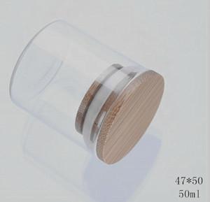 transparente tarro de cristal Top Dry hierba comida envase de bambú almacenamiento tapas de cierre hermético de boca ancha lado recto 47 * 50 mm a prueba de 50ml olor