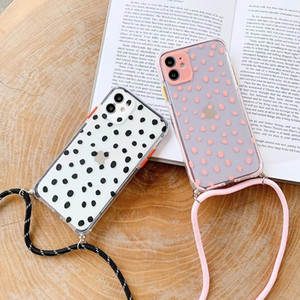 Cute Polka Dot Strap Cord Transparent Phone Case For iPhone 12 Mini 11 Pro XS Max XR X 7 8 Plus SE 2020 Neck Lanyard Hang Cover