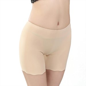 Women Boyshort Ice Silk Anti Curl Seamless Washable High Waist Sexy Tight Summer Underwear Safety Short Pant