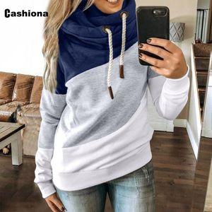 Plus size Women Hoodies Sweatshirt Autumn Long Sleeve New Patchwork Color Sweatshirt 2020 European and American Style Tops Femme