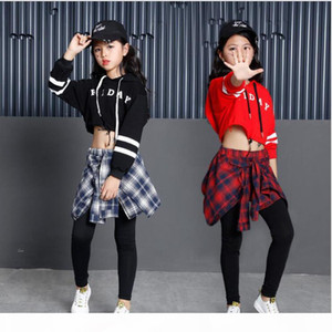 Girls Child Modern Dance costumes Barllroom dancing clothing Tops+Pants Kids Jazz Hip Hop stagewear Party dancewear Outfits