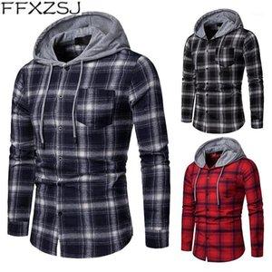 FFXZSJ Marca Casual Spring y Autumn Plaid Capucha con capucha Camisa de manga larga Tamaño europeo1