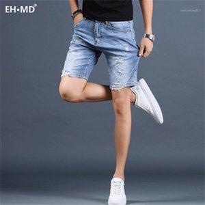 Eh · MD®Scratch Denim Shorts Hole dos homens Calças de cinco pontos Calças Pura Slim Slim Retro Pintura Branco 2020 Novo Stretch Soft Respirável1