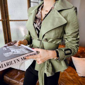 Женские женские женские и пальто весенние летние женские куртки корейская версия двойной погружной тонкий воротник мода короткая женщина