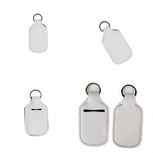 Sublimation Blanks Manchons de bouteilles Blanc 30ml Couvercle de bouteille de la main Désinfectant Parfum Enrouleur Clé Touche Néoprène Matériel Nouvelle arrivée 1 6NY L2