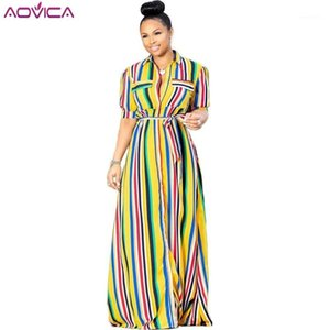 Aovica 2020 Yeni Zarif Stil Marka Moda Kadınlar Uzun Elbise Çizgili Turn-down Yaka Kısa Kollu Kemer Maxi Elbise Vestidos1