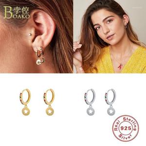 BOAKO 925 Sterling Silver Hoop Earrings For Women Colorful Zircon Earring Hoops Five-pointed Star Earings S925 Jewelry Pendiente1