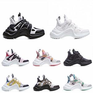 Hot Design Designer Casual Pai Sapatos Bloco Arquilíbrio Genuine Leather Sneakers Malha Preto Respirável Bow Alta Plataforma Plataforma Sapato Estilos
