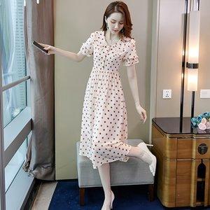 pCh9i Une lumière d'été mûre polka urh6w Aline 2020LINE es dot robe formelle des femmes dames célébrité Internet habiller ins