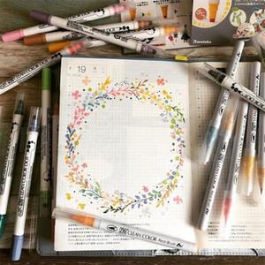 4/12COLORS SET Япония Kuretake Double Head Dot Водонепроницаемая акварель Mark Journal Marker Pen Paintes Actories 201120
