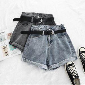 Streamgirl cintura alta Denim Shorts Mulheres Jeans Vintage Shorts cintura alta para as mulheres negras perder Feminino Verão p669 Cyrk #