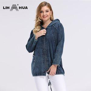 LIH HUA Women's Plus Size Spring Casual Denim Jacket Woman High Flexibility Jacket hoodie jacket Shoulder pads for clothing 201004