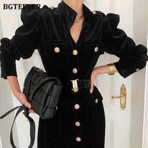 BGTEEVER CHIC ELEGANTE STOR STOR COLLAR VESTIDO Vestido de mujer Spring Single-Beked Beldeled Velvet Vestido Midi Vestidos Femme 2021